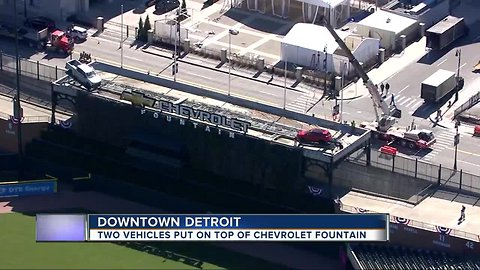 Two vehicles put on top of Chevrolet Fountain