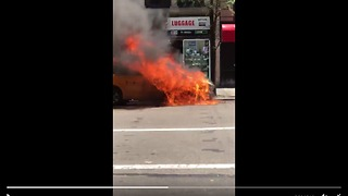 Taxi Overheats, Catches Fire on Fifth Avenue in New York City - Video