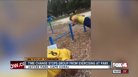 Time change stops group from exercising at park