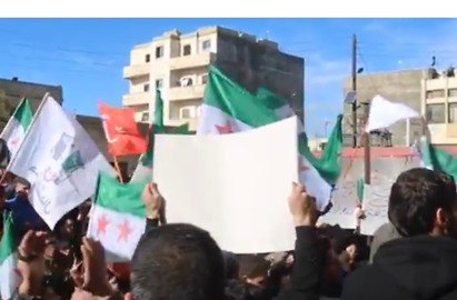 Demonstrators Support Turkish and Free Syrian Army Attacks on Kurdish Forces in Afrin