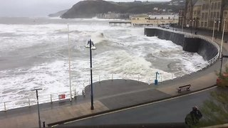 High Waves Hit Aberystwyth Promenade - Video
