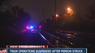 Train operations suspended after person struck on tracks