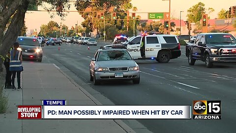 Man possibly impaired when hit by car