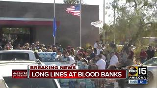 Blood donation lines long in Las Vegas - Video