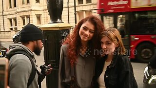 Zendaya poses with fans outside hotel in London ahead of Spider-Man film release
