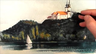 Sailboat watercolor painting - Video