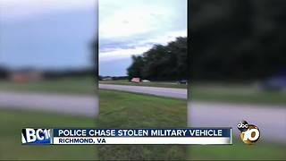 Virginia police chase stolen armored personnel carrier through Richmond