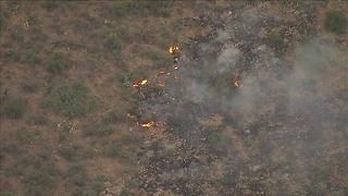 Aerials of the Brooklyn Fire burning northeast of Black Canyon City - Video