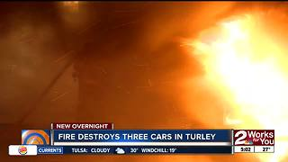 Fire destroys three cars in Turley near 61st Street - Video