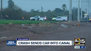Tolleson crash sends car into canal - Video