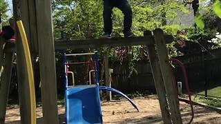 Young Boy Attempts Front Flip And Fails - Video