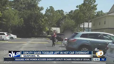 Deputy saves Florida toddler left in hot car overnight