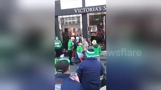 Irish Fans Cheer Customers Exiting Victoria's Secret In Copenhagen - Video
