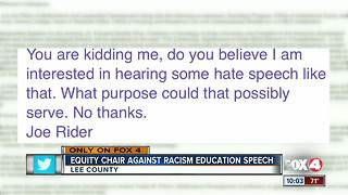 Lee County School District Equity and Diversity Advisory Committee Chair against racism education speech - Video