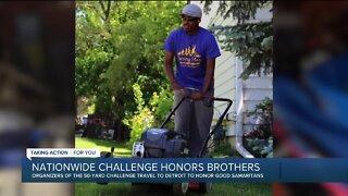 Westland brothers complete viral challenge, help their community through free lawn mowing