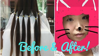 Donating my hair! 6 years of long hair to short hair before after~!  - Video