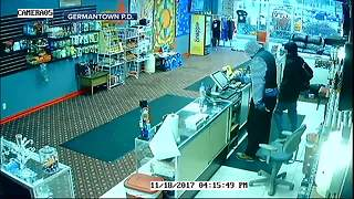 Serial robber attacks Germantown shop clerk - Video