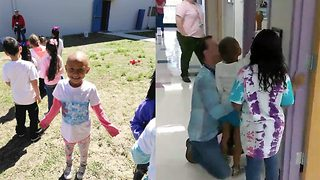 Brave youngster rings bell proudly to show everyone she's completed chemo - Video