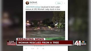 Woman trapped in tree as flood waters rage below - Video