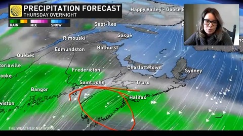 A sub-tropical low will continue to spin in Atlantic Canada, heavy rainfall is coming to Nova Scotia