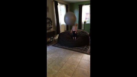 Kid gets smacked by exercise ball