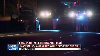 Pedestrian killed while crossing 78 freeway - Video
