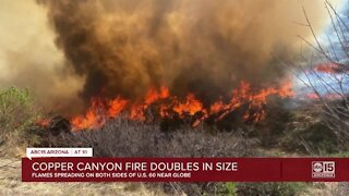Copper Canyon Fire: 1,500-acre fire burning northeast of Globe