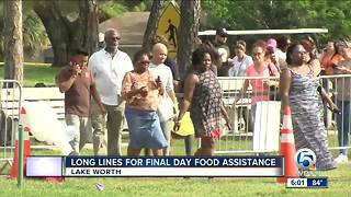 Long lines for final day of food assistance in Lake Worth - Video