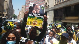 The African National Congress (ANC) Free State members protest outside the Luthuli House