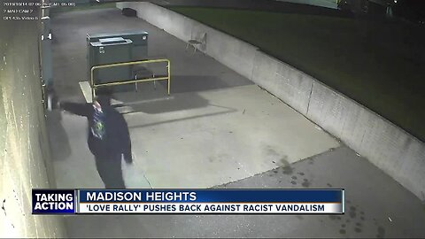 Madison Heights residents hold 'Love Rally' in wake of racist graffiti left by vandal