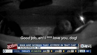 Man and woman's joyride in bait car caught on camera - Video
