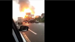 Fuel Tanker Explodes At Gas Station, And The Sight Is Unbelievable - Video