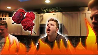 PRANK - Brother Eats 3 Carolina Reapers (Gone Wrong)