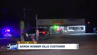 Customer shot and killed trying to stop armed robber in Akron - Video