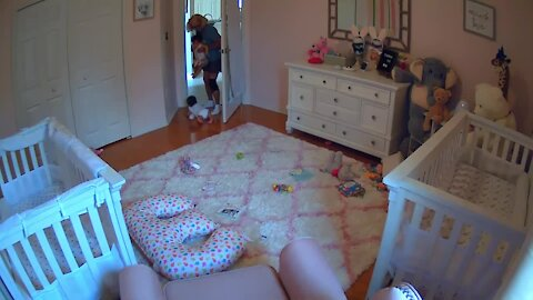 Hard-working grandma hilariously struggles to contain twins