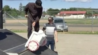 Skateboards just aren't enough anymore. Time to try a kids plastic trailer - Video