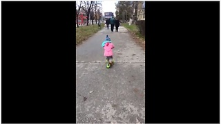 Talented One-Year-Old Shows Amazing Skills Riding A Scooter  - Video