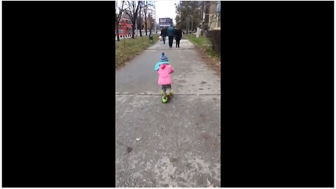 Talented One-Year-Old Shows Amazing Skills Riding A Scooter