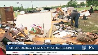 Storm destroys Muskogee County mobile home