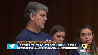 Father of three victims attacks disgraced gymnastics coach Larry Nassar - Video