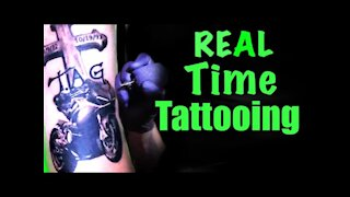 ✅REAL TIME TATTOOING, UP CLOSE!!🔍 Motorcycle and Cross👀