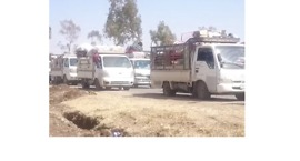 Convoy of Trucks Carry Displaced People Out of Northwest Daraa City - Video