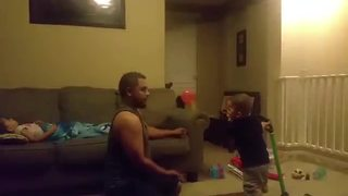 Little Boy Fails At Playing Catch
