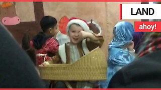"Boy obsessed with pirates shouts ""Land ahoy!"" in Christmas nativity"
