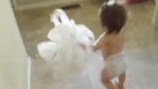 Toddler Girl Caught Making a Giant Mess, Makes a Run For It - Video