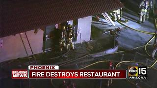 Fire destroys restaurant near 19th Avenue and Thunderbird - Video