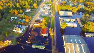 Drone Videos Show Flood Waters In Town Of Fair Bluff - Video