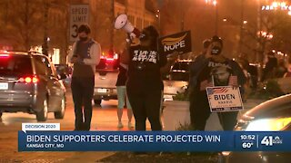 Biden supporters celebrate projected win