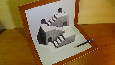 Drawing Three Dimensional Space, Stairs Illusion & Trick Art by Vamos