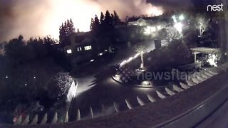 CCTV footage captures Napa Fire approaching residential area - Video
